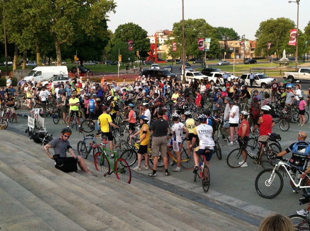The meetup before the 2012 Ride of Silence in Philadelphia.