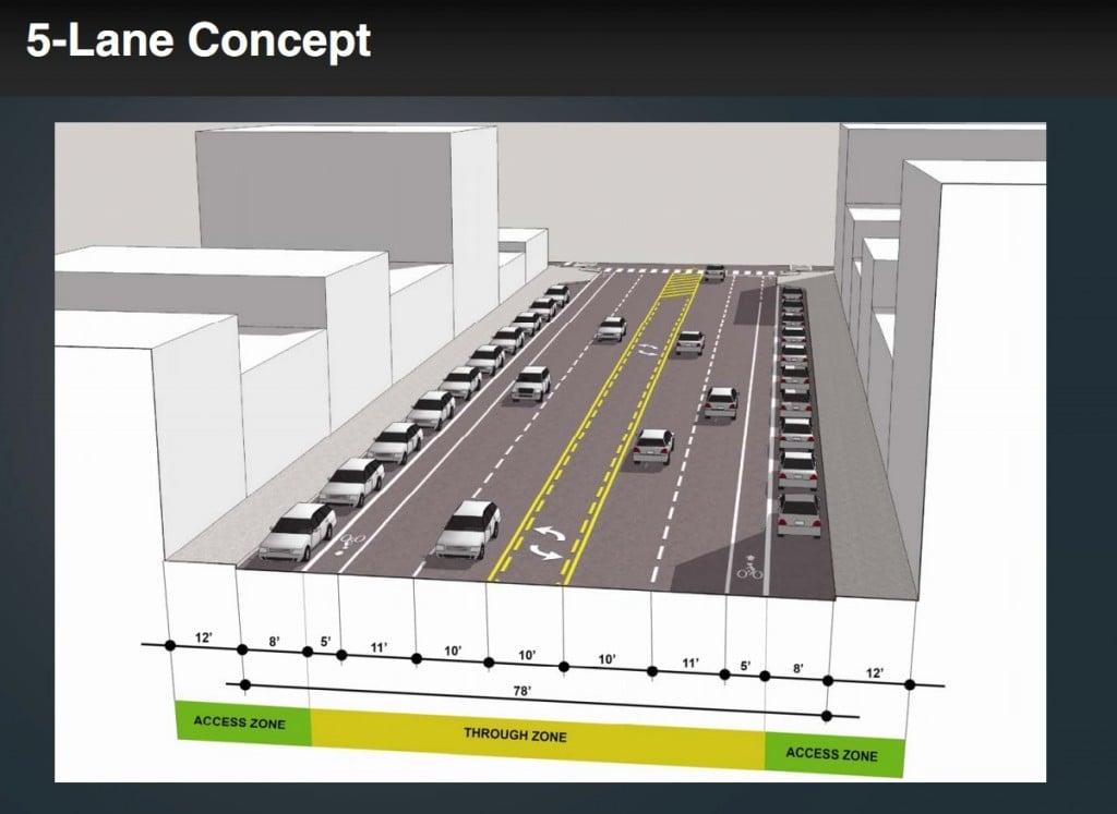 Washington Ave 5-lane concept