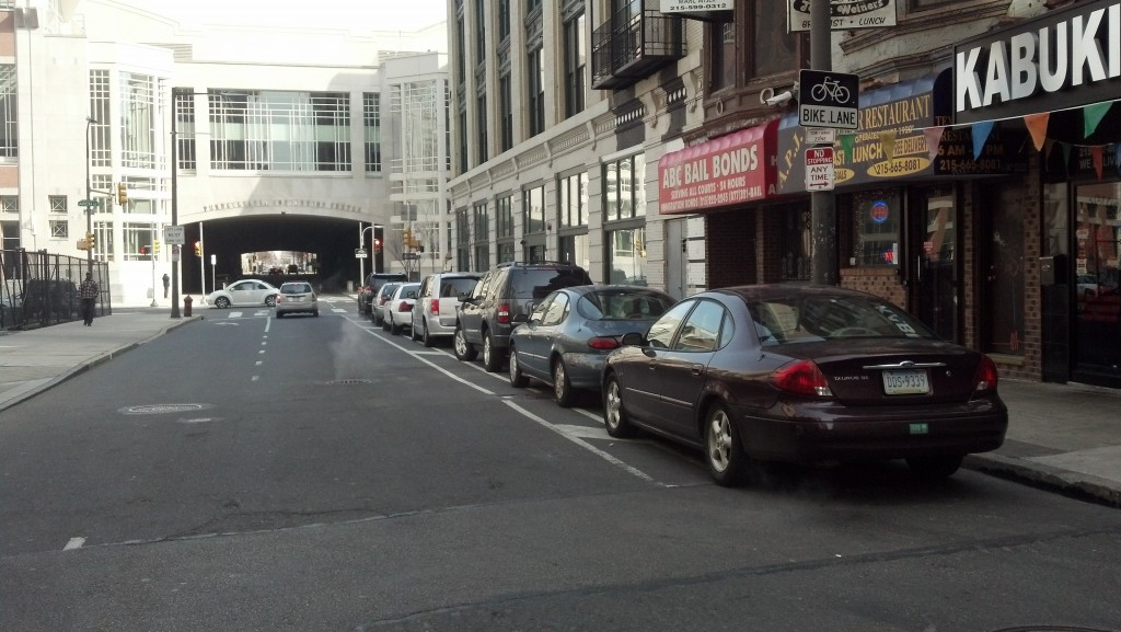 blocked 13th Street bike lane