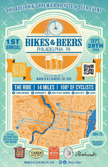 Bikes And Beers Philly Bikes and Beers poster RGB