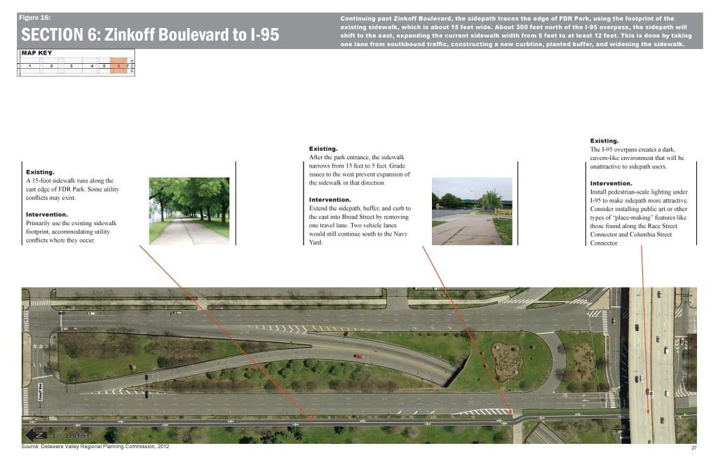 One of several panels of the proposed sidepath.