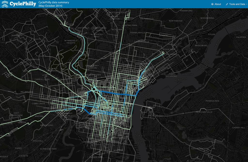Screen shot from DVRPC.org/webmaps/CyclePhilly