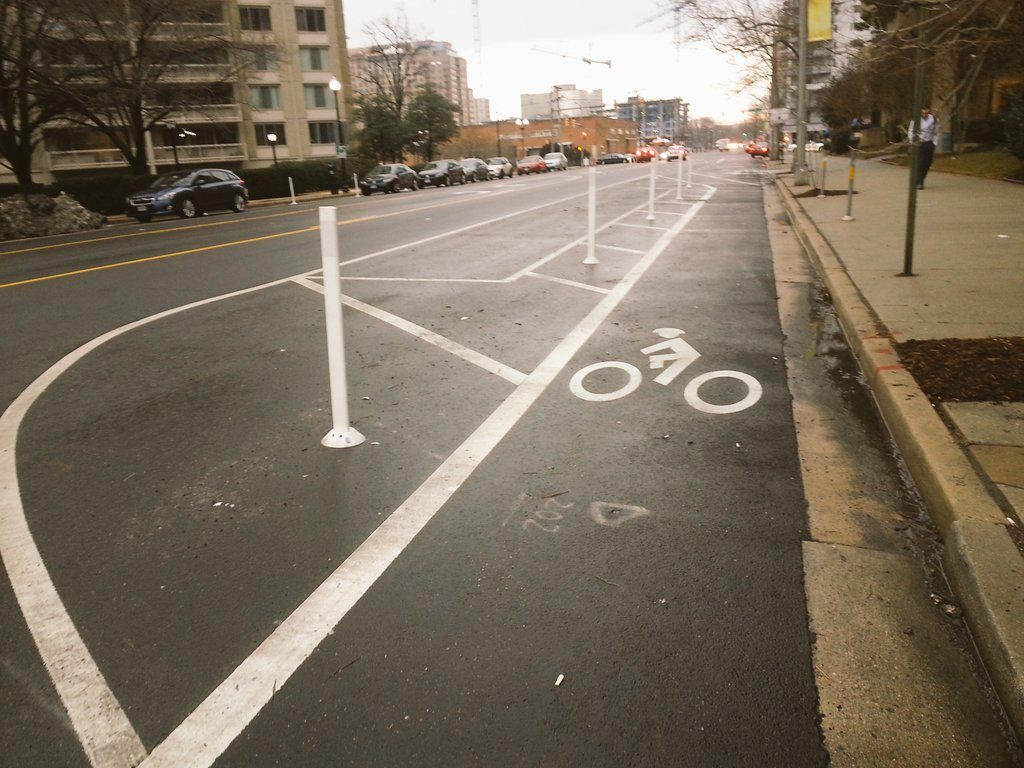 A protected bike lane outside a hotel in Crystal City, VA , where several BCGP are this week for the National Bike Summit.