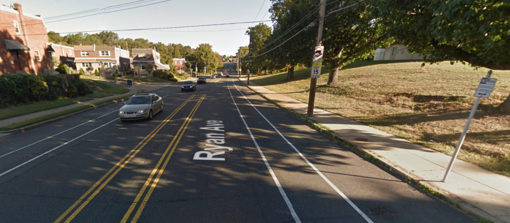 Current streetview of Ryan Ave. in Northeast Philadelphia