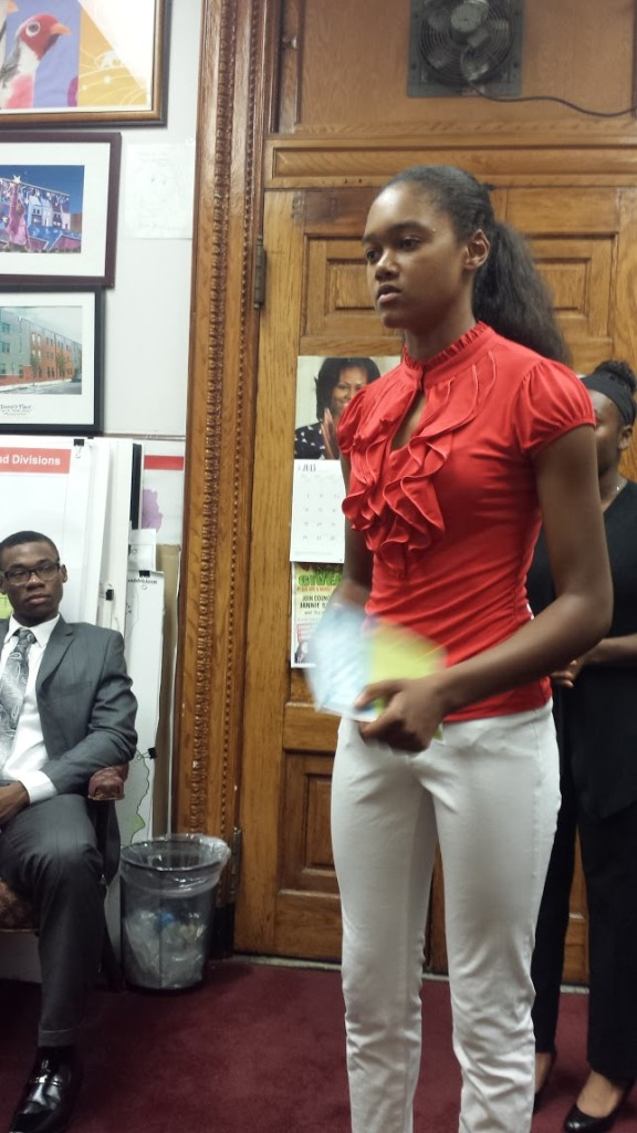 One selected speaker, Tamia Santiago, speaks in Councilwoman Jannie Blackwell's office.