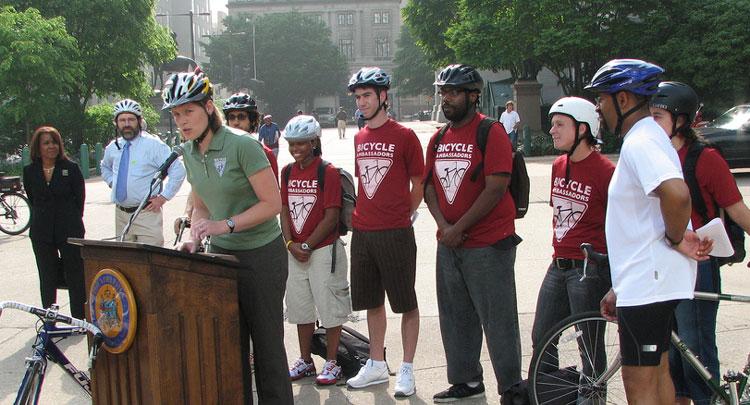 Breen Goodwin speaking at Philadelphia Bike to Work Day 2009