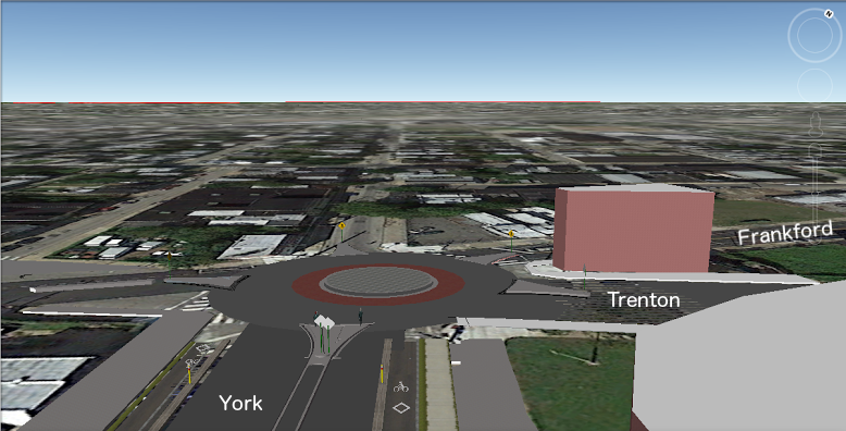 A rough sketch of a traffic circle at the Trenton/York/Frankford intersection