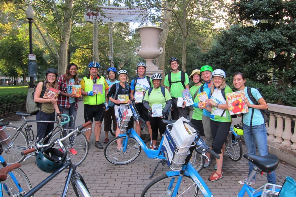 Volunteers gathered for 'Ride for Reading' at Rittenhouse Square.