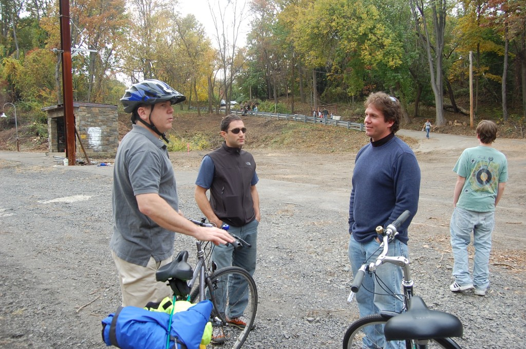 "The late Rob Stuart, Chris Leswing and others from the ""Friends of Cynwyd Trall"" met on November 1, 2008 to explore the potential for revitalizing the old Cynwyd line to reconnect Lower Merion and Manayunk/Roxborough. Photo by Sarah Clark Stuart"