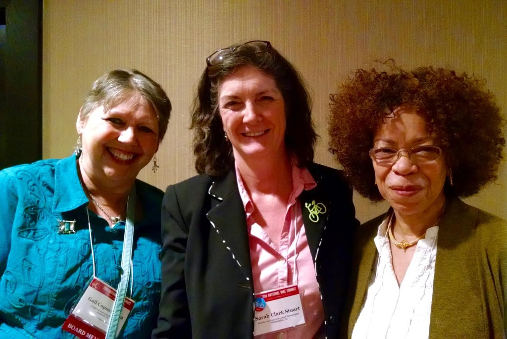 Left to right: Gail Spann, BCGP Executive Director Sarah Clark Stuart, Bike League Board President Karen Jenkins
