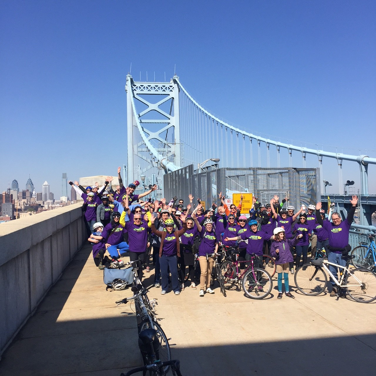 Those who took part in the ride across the Benjamin Franklin Bridge before Friday's opening ceremony.