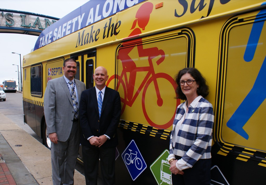 From L to R - SEPTA's Assistant General Manager of System Safety Scott Sauer, SEPTA's General Manager Jeffrey Knueppel, Bicycle Coalition of Greater Philadelphia's Executive Director Sarah Clark Stuart