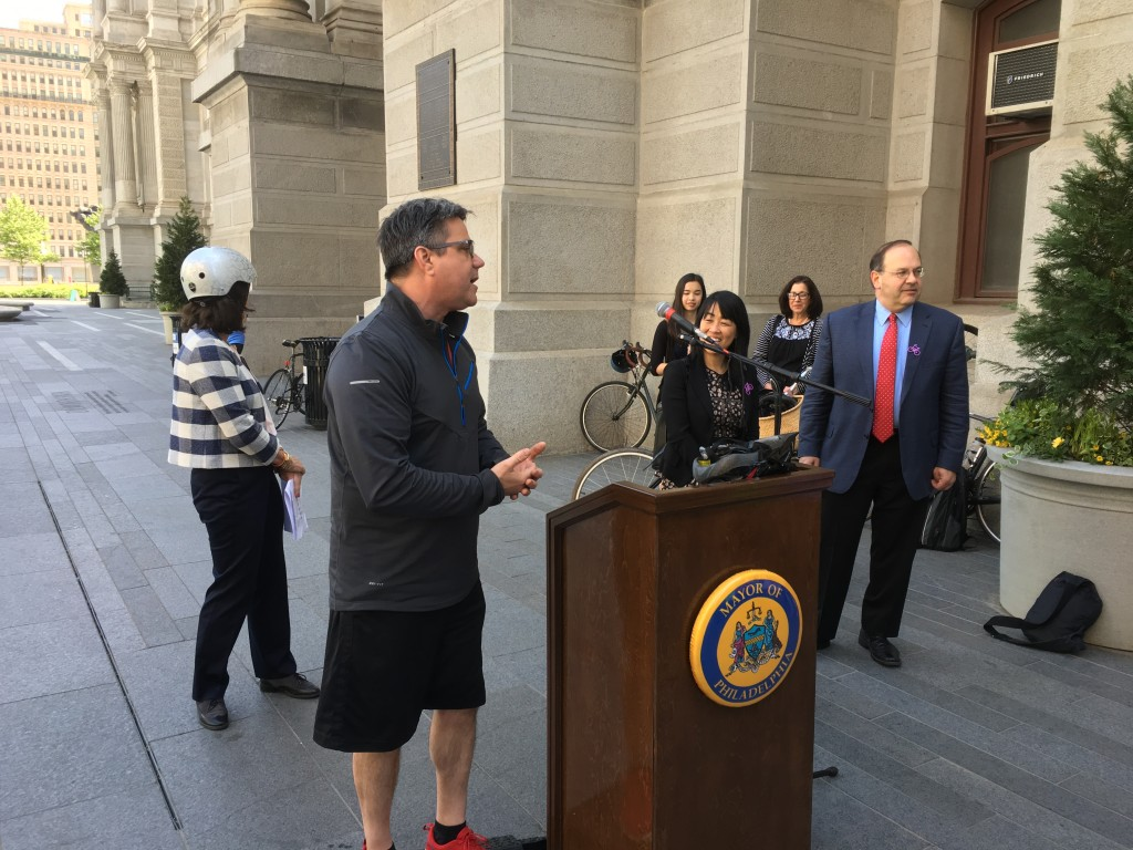 Councilman Bobby Henon speaks about the importance of bike lanes on Bike to Work Day