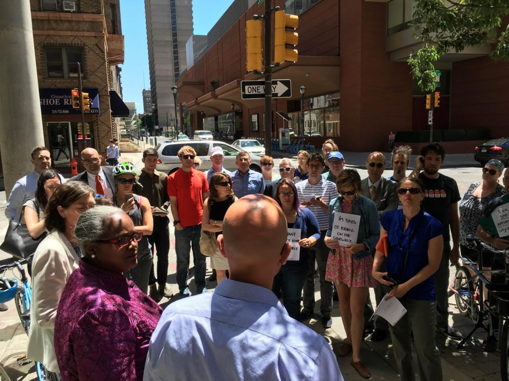 Dozens showed up at 15th and Spruce today to support protected bike lanes