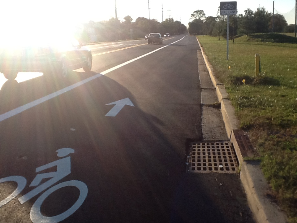 A suburban bike lane on Academy St in Clayton, NJ