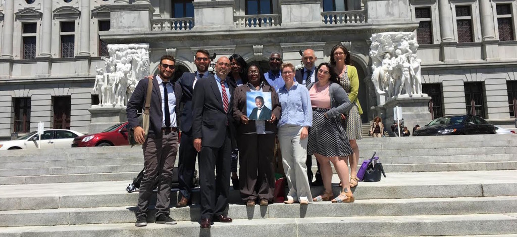 Our group of advocates on the steps of the Pennsylvania State Capitol