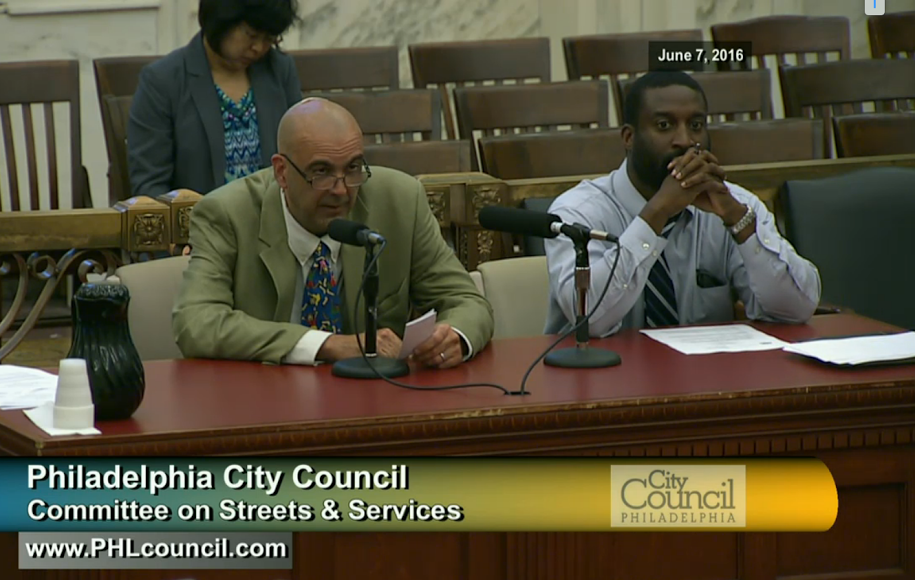 The Bicycle Coalition's Bob Previdi (left) testifies for a new buffered bike lane in Northeast Philly.