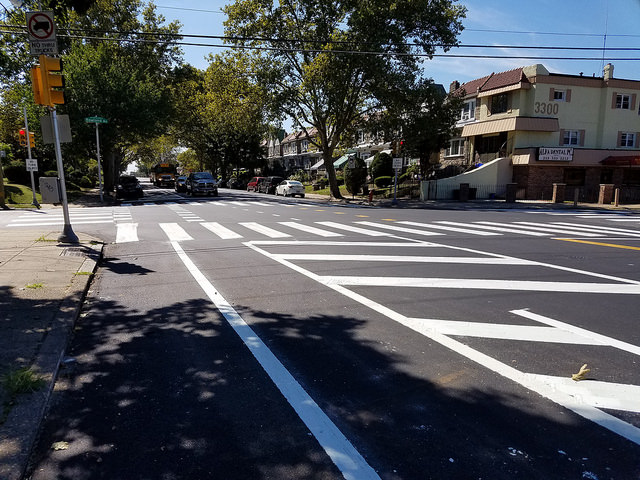 Parking-protected bike lane on Ryan Avenue (Photo by John Boyle)