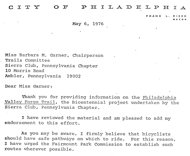 Screenshot from letter from Mayor Frank Rizzo to the Sierra Club