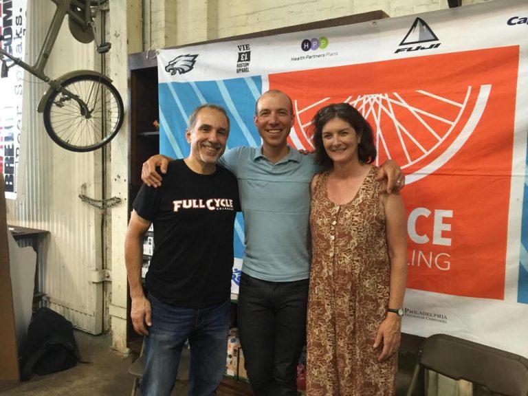 Joe Piscitello (left), alongside professional cyclist Jeremy Powers and BCGP Executive Director Sarah Clark Stuart