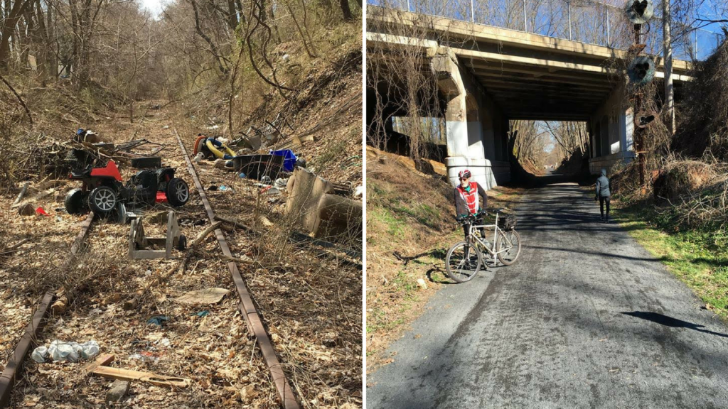 Left: Current trail conditions. Right: Pennypack; what the trail could be.