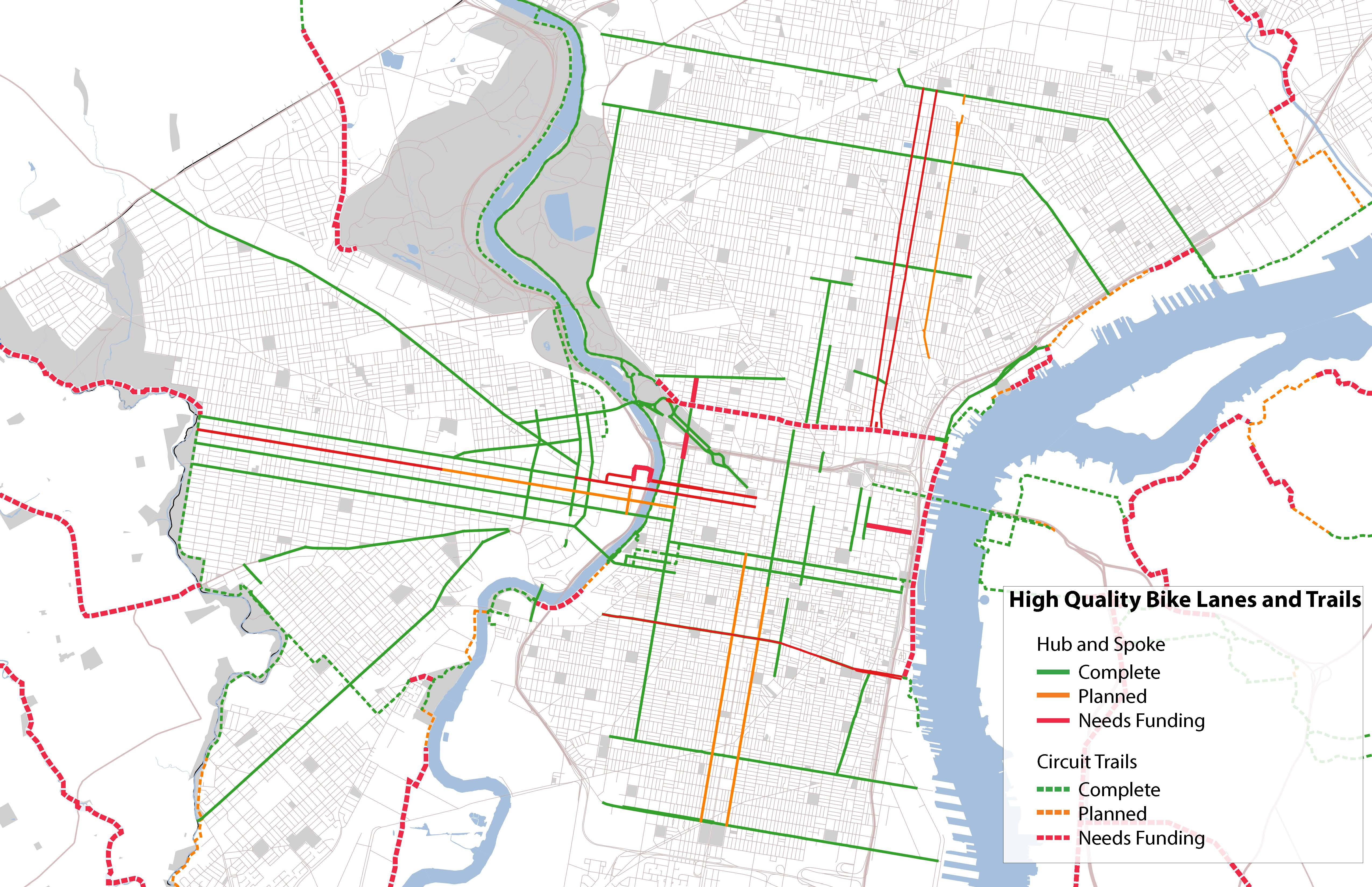 Phila Traffic Map.Hub And Spoke Bicycle Coalition Of Greater Philadelphia