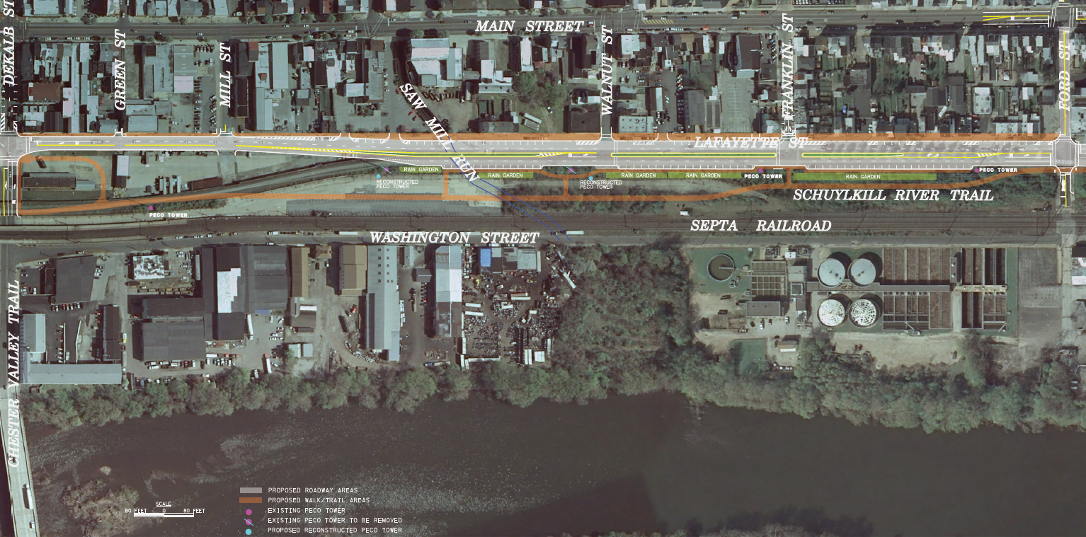 Visualization of the location of the trail and the Lafayette Street Extension.