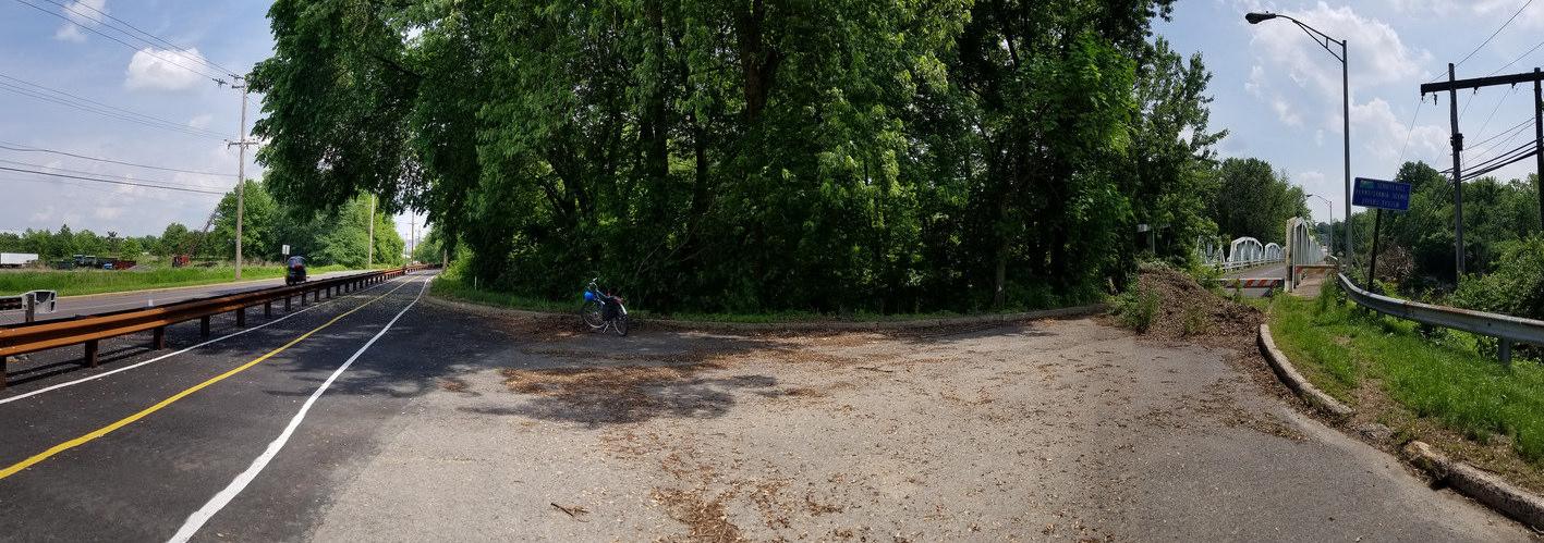 The new segment of the Schuylkill River Trail next to the closed Keim St Bridge.