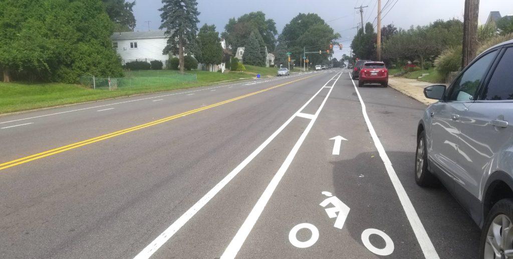Buffered bike lanes on Welsh Rd in Northeast Philadelphia
